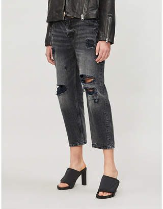 The Kooples Ripped high-rise cropped jeans