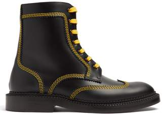 Burberry Topstitch lace-up leather ankle boots