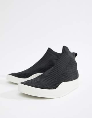 adidas Adilette Primeknit Sock Summer Sneakers In Black CQ3102