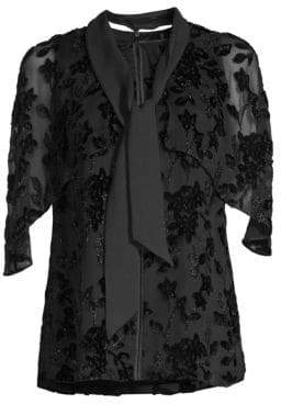 Elie Tahari Women's Rory Silk-Blend Burnout Blouse - Black - Size XS