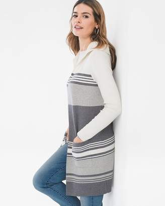 Chico's Chicos Cotton-Cashmere Blend Mixed-Stripe Cardigan
