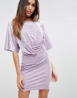 Asos DESIGN Drape Front Dress In Crushed Velvet