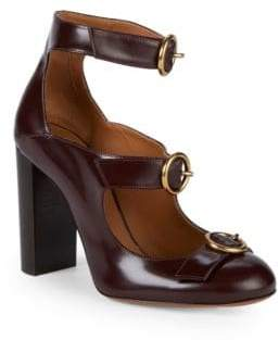 Buckled Leather Ankle-Strap Pumps