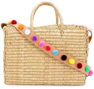 Nannacay pom pom strap basket bag