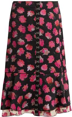 Carnation-print fluted midi skirt