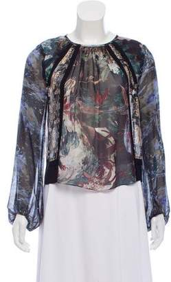 Megan Park Silk Printed Blouse