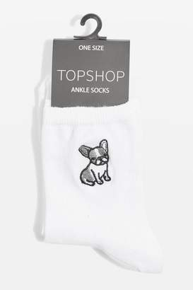 White embroidered frenchie ankle socks