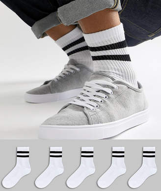 Asos DESIGN sport sock in short length in white with stripes 5 pack