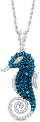 Zales 1/10 CT. T.W. Enhanced Blue and White Diamond Seahorse Pendant in Sterling Silver