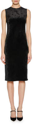 Giorgio Armani Sleeveless Jersey Velvet Fused Fitted Dress