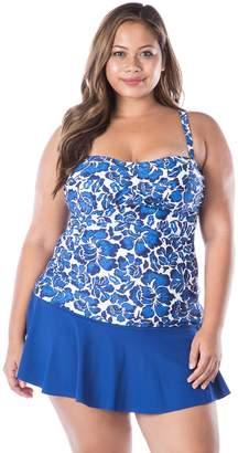 Chaps Plus Size Twist-Front Floral Tankini Top