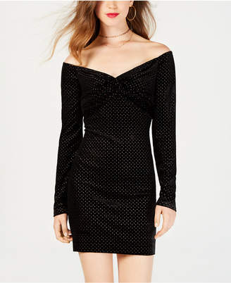 Material Girl Juniors' Off-The-Shoulder Bodycon Dress