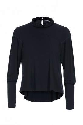 High Shapely Navy Jersey Top With Frill Neck - Xsmall