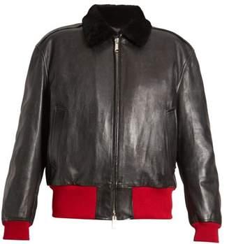 Calvin Klein Bi Colour Leather Bomber Jacket - Womens - Black Multi