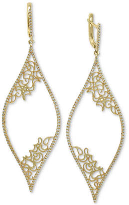 Effy Diamond Micro-Pave Filigree Drop Earrings (3/4 ct. t.w.) in 14k Gold