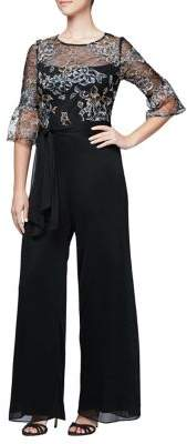 Alex Evenings Embroidered Bell-Sleeve Jumpsuit