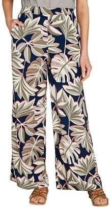 Apricot Navy Palm Leaf Print Palazzo Trousers