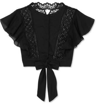 Charo Ruiz - Tirsa Open-back Crocheted Lace-paneled Cotton-blend Top - Black