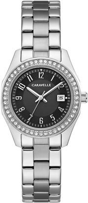 Caravelle Women's Stainless Black Crystal DialBracelet Watch