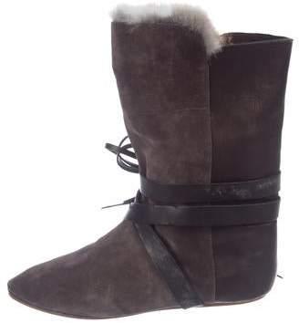 5555bf7178c Isabel Marant Suede Fur-Trimmed Boots