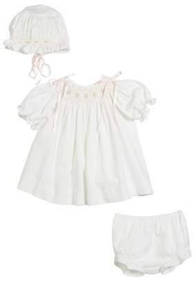 Luli & Me Three-Piece Button-Down Floral Bishop Dress, Size 3-12 Months