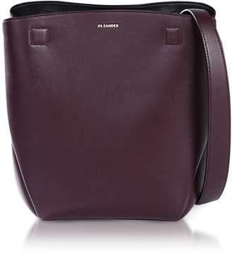 Jil Sander Dark Purple Leather Bucket Bag