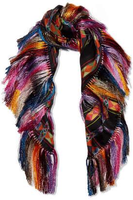Etro - Fringed Printed Silk-twill Scarf - Black $1,060 thestylecure.com