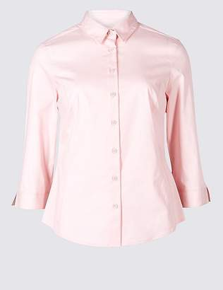 Marks and Spencer PETITE Cotton Rich 3/4 Sleeve Shirt