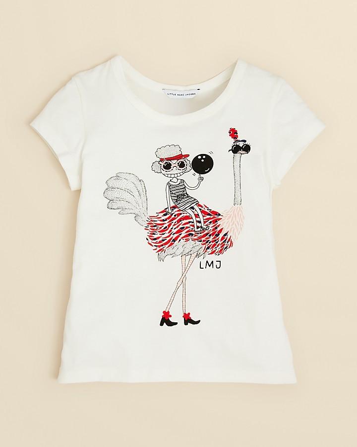 Little Marc Jacobs Girls' Ostrich Print Tee - Sizes 6-14