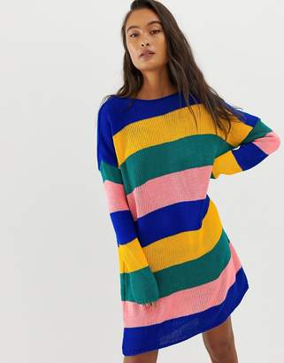 Daisy Street relaxed sweater in bold stripe