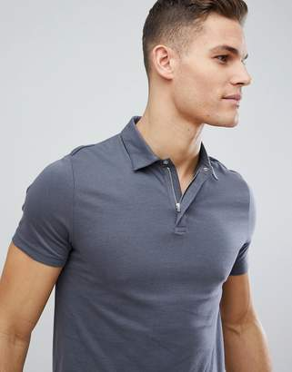 Asos Design DESIGN jersey polo with concealed zip placket and popper in gray