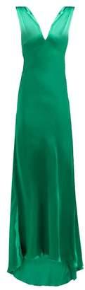 Maria Lucia Hohan Derya Fluted Hem Silk Satin Dress - Womens - Green