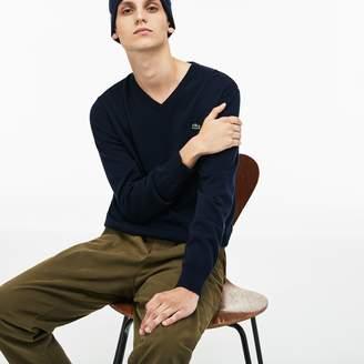 Lacoste Men's V-neck Caviar Pique Accent Cotton Jersey Sweater