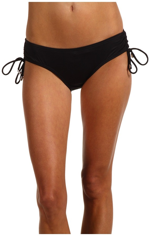 MICHAEL Michael Kors Beachy Logo Solids Shirred Hipster Bikini Bottom (Black) - Apparel
