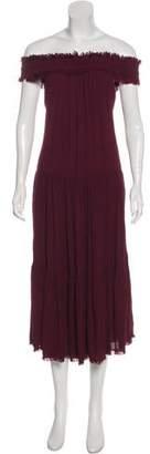 Raquel Allegra Off-The-Shoulder Silk Dress