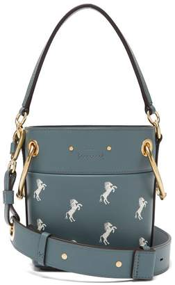 Chloé Roy Little Horses Embroidered Leather Bucket Bag - Womens - Blue Multi