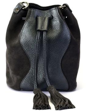 Atelier Hiva Mini Rivus Leather Bag Metallic Anthracite & Anthracite Suede