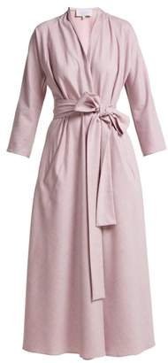 Luisa Beccaria Belted Wool Blend Midi Wrap Dress - Womens - Light Pink