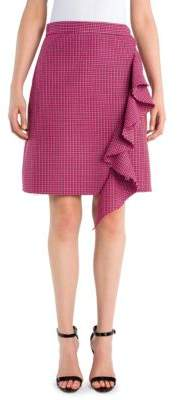 MSGM Plaid Pattern Wool A-Line Mini Skirt