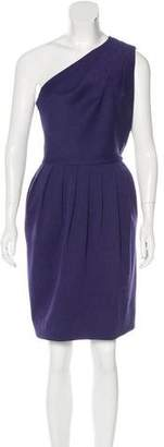 Halston One-Shoulder Pleated Dress