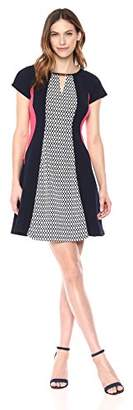 Sandra Darren Women's Plus Size 1 PC Sleeveless Printed Scuba Crepe Fit & Flare Dress