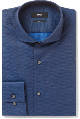 HUGO BOSS Blue Jason Slim-Fit Cutaway-Collar Cotton-Jacquard Shirt