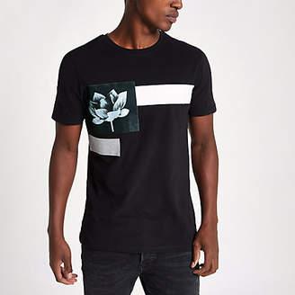 River Island Black slim fit front floral print T-shirt
