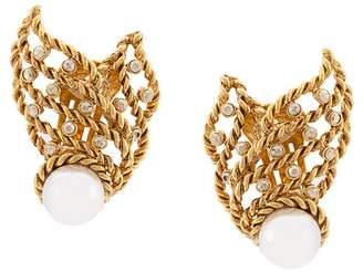 Oscar de la Renta Pearl Net earrings