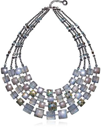 Antica Murrina Atelier Byzantium - Grey Murano Glass & Silver Leaf Choker $440 thestylecure.com