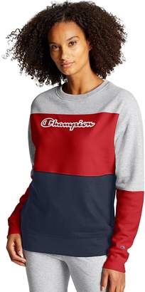 Champion Women's Powerblend Colorblocked Long Sleeve Crew Tee