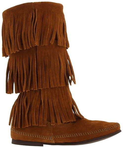 Minnetonka - Calf Hi 3-Layer Fringe Boot Women's Pull-on Boots 9