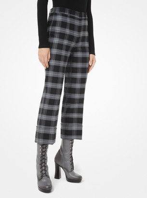 Michael Kors Glen Plaid Stretch-Wool Cuffed Trousers