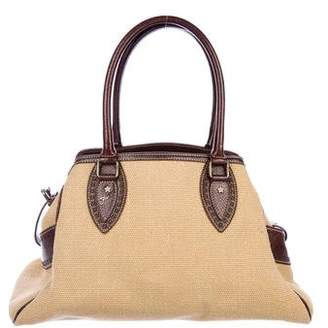Fendi Leather-Trimmed Straw Tote