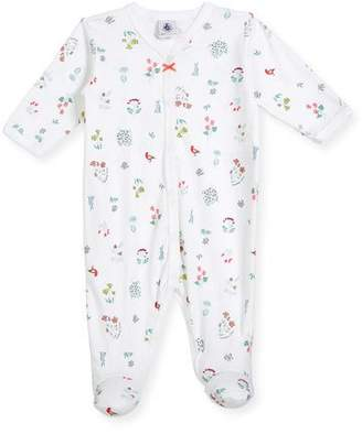 Petit Bateau Flower & Animal-Print Footie Pajamas, Size Newborn-6 Months